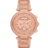 Michael Kors Mid-Size Rose Golden Stainless Steel Parker Chronograph Glitz Watch - Michael Kors