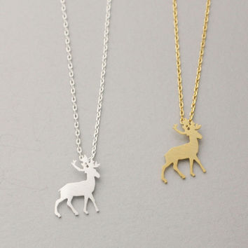 Min1pc Gold and Silver Origami Antler Deer Necklace in Gold and Silver Bridesmaid Necklace XL185