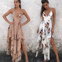 Boho Flower Print Backless Crisscross Strap V-Neck Sleeveless Irregular Maxi Dress