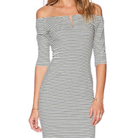 Shakuhachi Off the Shoulder Stripe Dress in Navy