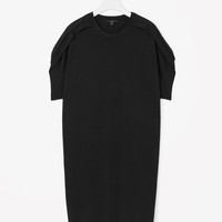 Folded-sleeve knit dress