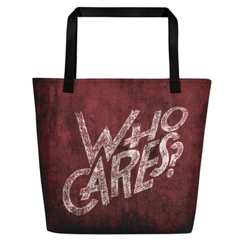 All-over-print Beach Bag - So... who cares? Scarlet red and white