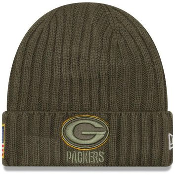 Men's Green Bay Packers Green New Era Salute To Service Sport Knit Hat