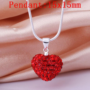 Necklace women's fashion jewelry Plated Romantic slide heart pendant crystal silver Plated color necklaces for women