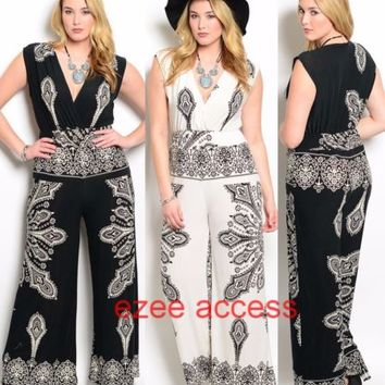 Women Plus Size Romper Ethnic Paisleys Romper Cat Suit Jumper Jumpsuit Dress 1-3