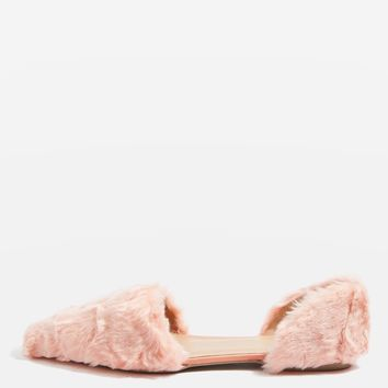 ALI Faux Fur Two Part Flats