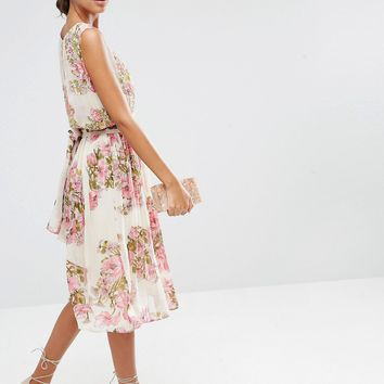ASOS TALL SALON Pretty Floral Soft Midi Dress with Embellished Bodice at asos.com