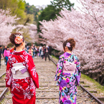 Japanese Ladies Dressed In Kimono, Keage Incline, Kyoto Prefecture, Japan [Large Digital Print] [Lustre / Metallic / Glossy]