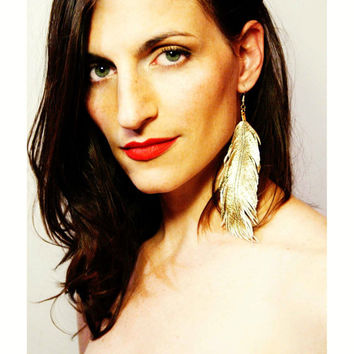 Earrings Drop / Dangle - Gold Lambskin Leather Feather Earrings - Gilded Bird
