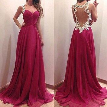 Wine Red Backless Lace Maxi Dress