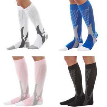Men Women Unisex Leg Support Stretch Outdoor Sport Socks Knee High Compression Socks Running Snowboard Long Socks