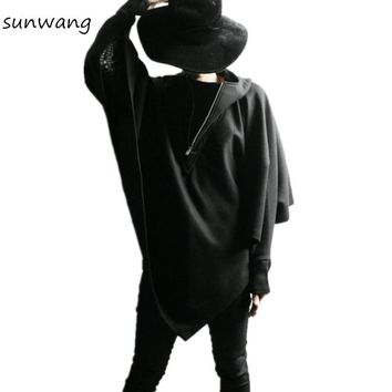 harajuku 2017 fashion mens gothic clothing hooded trench coat men Batwing sleeve jackets overcoat loose cloak,black,free size