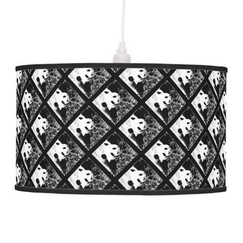 Pop Art Pandas Hanging Lamp Black and White