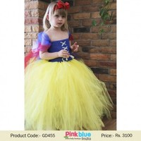 Unique Girl Birthday Tutu Dress in Blue and Yellow With Headband