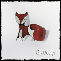Brooch fox in enamels on completely hand-made copper - original model