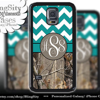 Monogram Galaxy S5 case S4 Real Tree Camo Turquoise Fat Chevron Personalized Zig Zag Samsung Galaxy S3 Note 2 3 Cover Country Girl