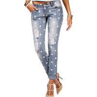 Med. Denim Distressed Polka Dot Jeans