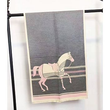 Hermes Autumn And Winter New Fashion Horse Print Keep Warm Contrast Color Scarf Women
