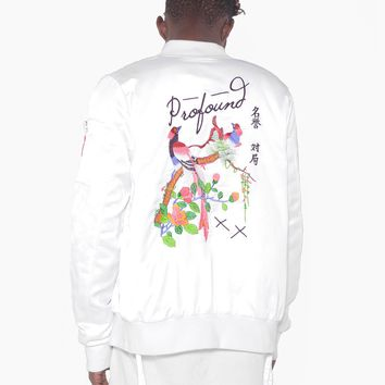Birds of Heaven Embroidered Satin Bomber in White