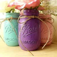 Three Mason Jars, Hand Painted Mason Jars, Purple, Pink and Aqua, Rustic - Style Mason Jars