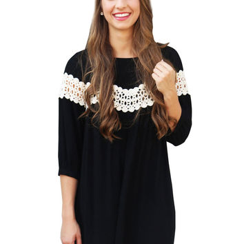 Black Half Sleeve Mini Dress with Lace Accent