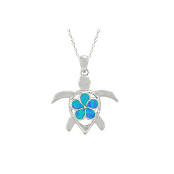 925 Sterling Silver Opal Turtle Pendant Necklace 18 Inch Chain