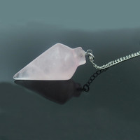 1PC Semi-precious Stone Rose Quartz Cone Point Pendulum Pendant Healing Crystal Point Pendulum Birthday Gift