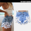Fashion New 2016 Clothes Summer Shorts Sexy Mini Lace Hollow Out Beach Skinny Denim Shorts Womens Ripped Hole Jeans