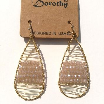 USA Dorothy Gold Pink Wire Wrap Earrings