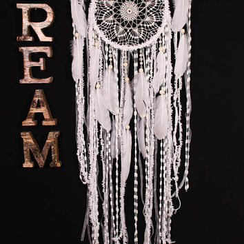 Wedding gifts Dreamcatcher Boho White Dream Catcher Large white crochet dreamcatcher gift wedding ceremony photo backdrop Bohemian handmade