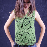 Green crochet summer top handmade unique with pineapple pattern free shipping