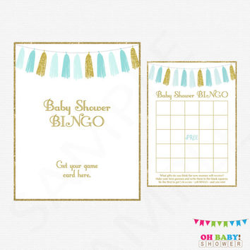 Baby Shower Bingo, Blue and Gold Baby Shower Games, Bingo Game Sign, Baby Shower Printable, Boy Baby Shower, Bingo, Instant Download, TASBG