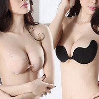 Women Sexy Push Up Bra Front Closure Self-Adhesive Invisible Silicone Seamless Strapless Bra For Wedding Party Swimming