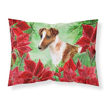 Smooth Fox Terrier Poinsettas Fabric Standard Pillowcase CK1296PILLOWCASE