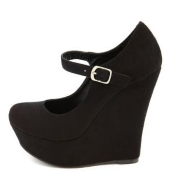 Sueded Mary Jane Wedge by Charlotte Russe - Black