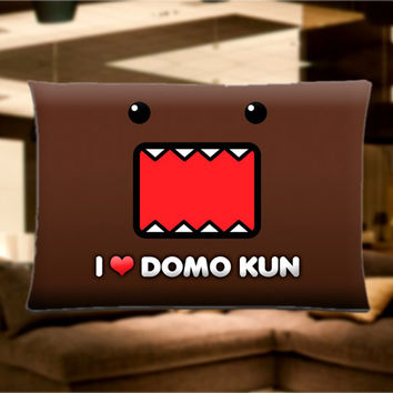 "I Love Domo Kun Pillow Case Cover Bedding 30"" x 20"" Great Gift"