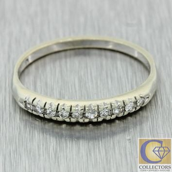 1930s Antique Art Deco Estate 14k White Gold Old Cut Diamond Wedding Band Ring