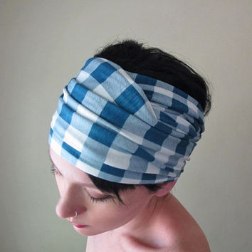 Gingham Head Scarf - Blue and White Plaid Headband, Hair Wrap - Checkered Summer Hair Accessory