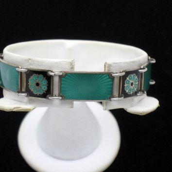 Norway Sterling 925 David Andersen  Emerald Guilloche Enamel Panel Bracelet
