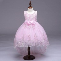 Flowers Bowknot Sleeveless O-neck Trailing Princess Dress For Kids Girls