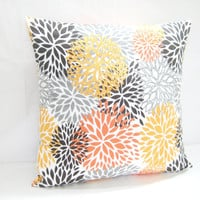 Cushion Cover, Decorative Toss Pillow, Modern Floral Print, Fall Colors