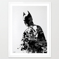Batman Watercolor illustration Art Print,Wall Art Poster,Home Decor,Wall Hanging,Boys/Girls Room Art,Motivational/Inspirational Gift,No 8