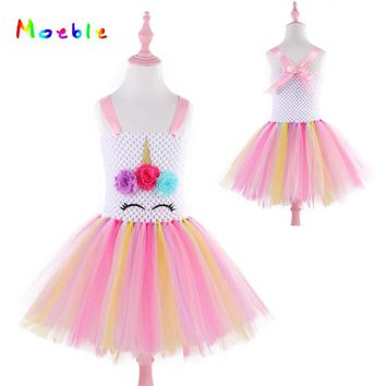 Flower Girls Dresses Unicorn Tutu Dress Pastel Rainbow Princess Dress for Girls Birthday Outfit Children Kids Halloween Costume