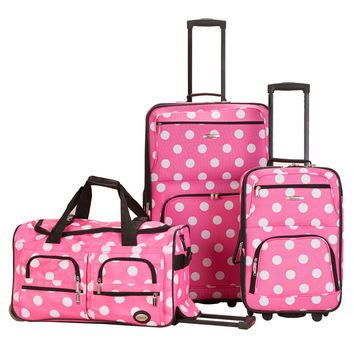 Rockland Perfect Ensemble Pink Dot 3-piece Expandable Luggage Set | Overstock.com Shopping - The Best Deals on Three-piece Sets