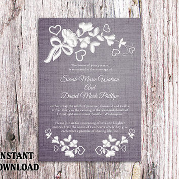 DIY Lace Wedding Invitation Template Editable Word File Download Printable Rustic Wedding Invitation Vintage Floral Blue Invitation