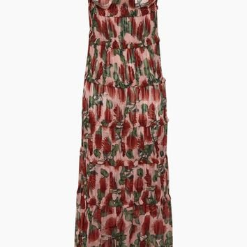 Off The Shoulder Tier Long Dress - Fiore Rose Print