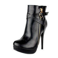 Womens Ankle Boots Strappy Buckle and Zipper Acce Sexy High Heels Black SZ