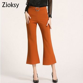 New Summer Office Lady Fashion Women Pants  Capris Ankle-Length Pants Casual Flare Pants