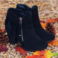Orion Fringe Booties - Black