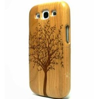ECVISION Real Natural Bamboo Wood Wooden Hard Case Cover for SAMSUNG Galaxy S3 i9300-Lucky Tree